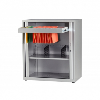 Tambour Cabinet with Hanging Files for Office Storage